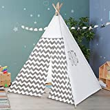 Myshle Teepee Tent for Kids- Play Tent for Boy Girl Indoor & Outdoor with Carry Case & Bunting, Gray Stripe Heavy Cotton Canvas Teepee