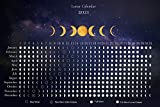 Moon Calendar 2021 - Lunar Phases and Eclipses - Night Sky Horizontal Poster - 18 x 12 inch