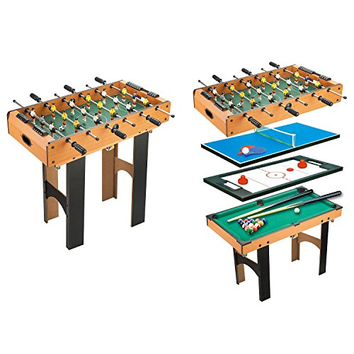 HOMCOM 4-In-1 Multi Game Table Kids Children Indoor Activity Toy with Table Tennis Billiard Football Hockey Soccer