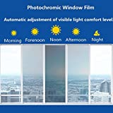HOHOFILM 70'X20' Photochromic Window Film VLT 43% - 73% Color Changing Window Tint Sunlight Control Heat Rejection Anti-UV for Home &Buildings