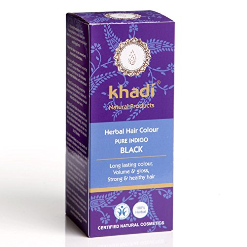Khadi Naturprodukte Pflanzenhaarfarbe Reines schwarze mit Indigo I Naturhaarfarbe 100% natürlich und vegan, 100 g