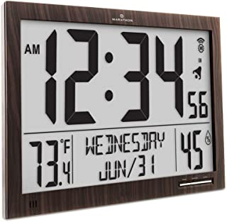 Marathon CL030062-FD-WD Slim Atomic Wall Clock. Jumbo Full Calendar Display. Indoor Temperature & Humidity (New Full Display) Color-Wood Tone.