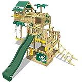 WICKEY Spielturm Klettergerüst Smart Castaway mit Schaukel & grüner Rutsche, Baumhaus mit Sandkasten, Kletterleiter & Spiel-Zubehör