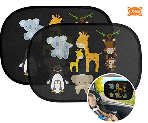 Preisvergleich Produktbild SHENGYAO Auto Sonnenschutz Baby Sonnenblende mit UV Schutz Sonnenschutzrollo für Seitenfenster,  Selbsthaftende Cartoon Sonnenblenden für Kinder & Haustiere,  2 Stück