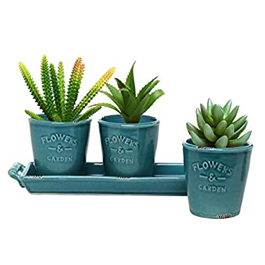 MyGift Set of 3 Country Rustic Turquoise Ceramic Succulent Planters / Flower Pots & Handled Display Tray