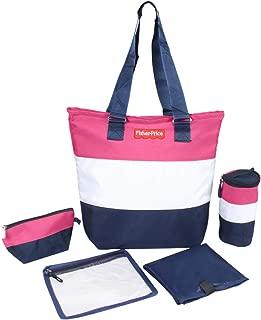 PrettyKrafts Polyester Preppy Diaper Bag (Pink-Blue) - Set of 5