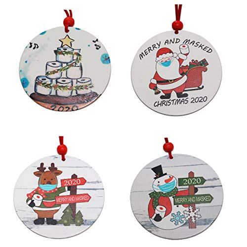 4PC Winter Wearing Madks Ornaments, 2020 Merry Christmas Tree Decoration Santa Claus Madks Pendant Crafts (8cmX8cmX0.3cm) White