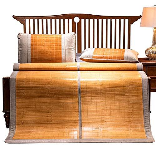 Estera de bambú Colchón Fresco, lecho de bambú Matera de Paja Verano Mats para Dormir Matada de Cama Plegable Doble Cara Uso de Doble Cara Asiento de Pulido (Size : 2.0×2.2m)