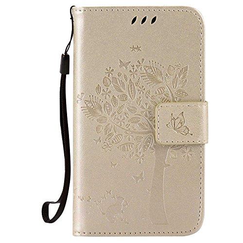 Samsung Galaxy J1 2016 Hülle,THRION PU Cat und Baum Brieftaschenetui mit magnetischer Handschlaufe und Ständerhalterung für Samsung Galaxy J1 2016, Gold