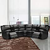Romatpretty 6 seat Reclining Sectional Sofa with 2 Cup Holder, Furniture Large Reclining Sectional Living Room Sofa, Black