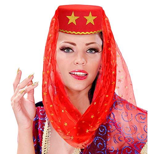 WIDMANN 25012 - Sombrero de harn con velo de fieltro, color rojo, para carnaval, fiesta temtica