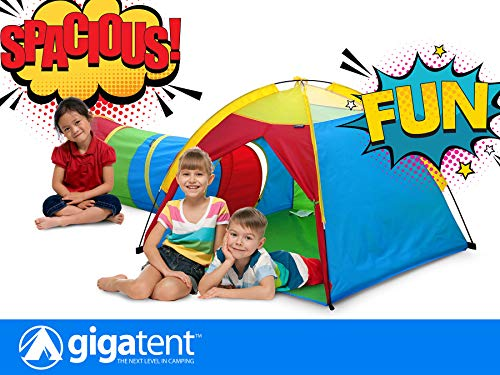 GigaTent Pop up Play Tent and Tunnel for Kids -  Indoor & Outdoor for Kids Games in The Summer in The Yard for Outdoor Lawn Games