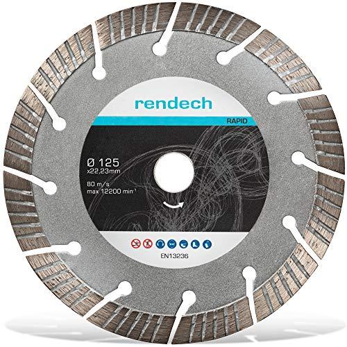 Turbo Diamanttrennscheibe 125 mm für Beton, Granit, Stein uvm. - Diamantscheibe in Profi Qualität (für Winkelschleifer Ø 125x22,23)