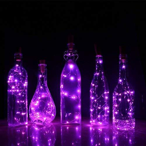 AAA226 Guirlande lumineuse à 15/20 LED pour bouteille de vin avec bouchon en liège et fil argenté à piles Violet 1,5 m