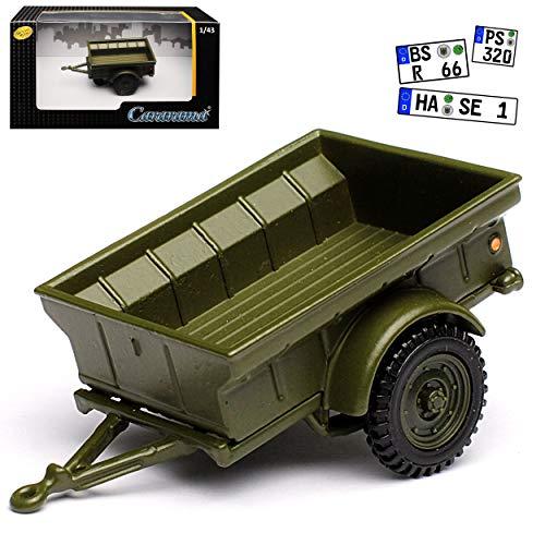Cararama Anhänger passend für Jeep Willys 1/4 TON Army Truck Grün USA Army 2. Weltkrieg 1/43 Modell Auto mit individiuellem Wunschkennzeichen