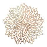 Uposao - Juego de 6 manteles individuales redondos, de PVC, antideslizantes, lavables y resistentes al calor, para decoración de mesa, color rosa dorado