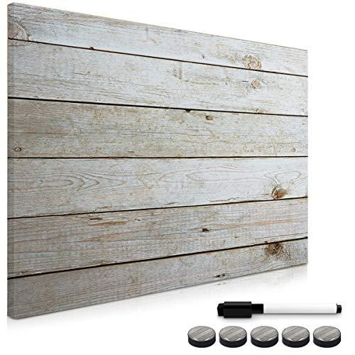 Navaris Tablero de Notas magnético - Pizarra con diseño de planchas de Madera - Pizarra magnética con Marcador Negro y 5 imanes - 90 x 60 CM