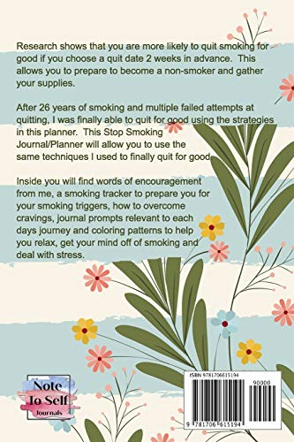 Stop Smoking Journal: A Quit Smoking Coloring and Tracking Journal That Will Allow You To Quit For Good