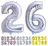 Globo numero 26 o 62 plata Globos Gigante números 2 6 del 0 al 99 fiestas cumpleaños decoración fiesta aniversario boda tamaño grande 70 cm con accesorio para inflar aire o helio (26/62 Plata)