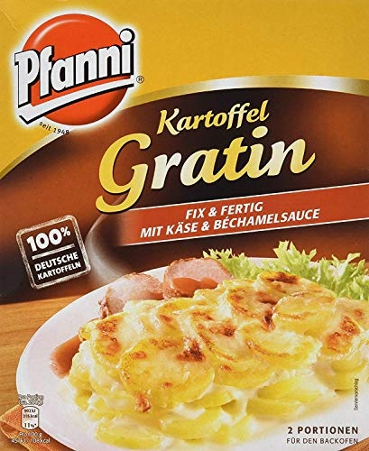 Pfanni Kartoffel Gratin für die schnelle Zubereitung mit Käse und Béchamelsauce 100{c2c1a40384c5d11181815da4816f42e8090333a6cf971cda7e6e091b4e8ba237} deutsche Kartoffeln, 1 x 400 g