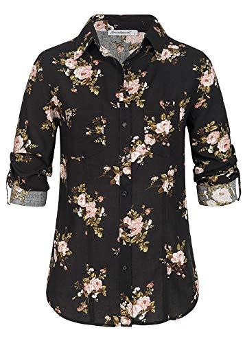 Seventyseven Lifestyle Damen Turn-Up Bluse Blumen Print 2 Brusttaschen schwarz rosa, Gr:M