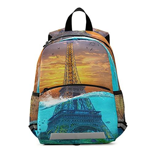 ISAOA - Mochila para niños con riendas para niños y niñas, Torre Eiffel, mochila para niños con clip para el pecho
