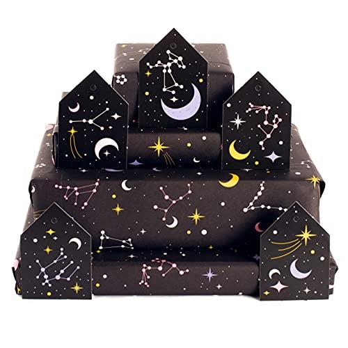 Central 23 - Papel de envolver negro - 6 hojas de papel de regalo - Constelaciones - Luna y estrellas - Magia - Para niñas, niños, mujeres y hombres - Reciclable