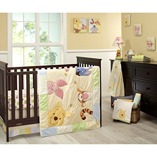 Disney Winnie The Pooh Peeking Pooh 7 Piece Nursery Crib Bedding Set - Appliqued Textured Quilt, 2 100% Cotton Fitted Crib Sheets, Crib Skirt with 16  Drop, 3 Soft Wall Hangings