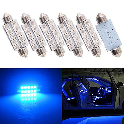 Qasim 6Pcs Super Bright 44mm 1.73inch 5050 10-SMD Blue LED Bulb Interior Map Dome Lights 578 211-2 212-2 579 214-2 569 DC 12V
