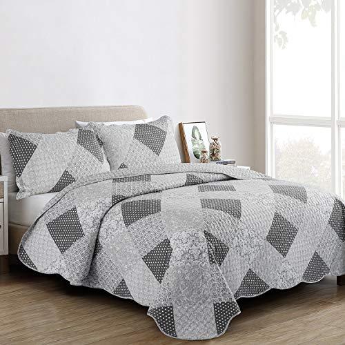 Oxford Homeware® Tagesdecke Steppdecke Bestickt Patchwork 3 Stück wendedesign Stepp Decke Schlafzimmer deko + 2 Kissenbezüge (Grau, 230x250 cm)