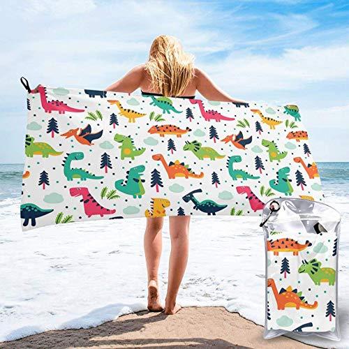 FLDONG Toalla de secado rápido con estampado de dinosaurios de dibujos animados, ultra suave, compacta, adecuada para camping, gimnasio, playa, hogar 81.5 x 150 cm