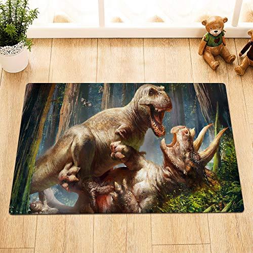 Lumengqi Dinosaur Battle Giant Beast Forest Tappetino Anteriore per la Decorazione della casa,Tappetino da Bagno,Antiscivolo e Facile da Pulire,HD50x80cm