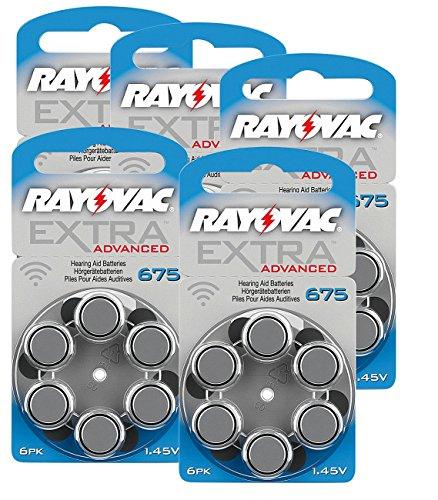 RAYOVAC Hörgeräte-Batterien 675 Extra Advanced 1,45V 640 mAh, 5X 6er Sparpack