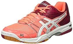 ASICS Women's Gel-Rocket 7 Volleyball Shoes, Multi-Color (Flash Coral / White / Cerise), 40.5 EU