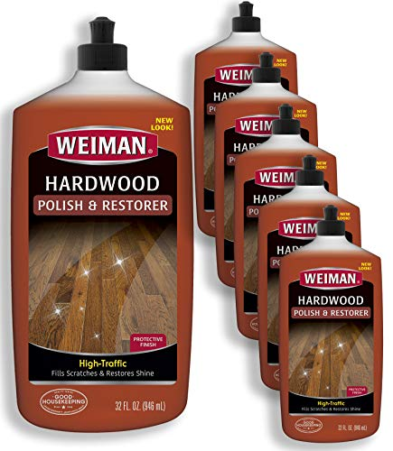 Weiman Wood Floor Polish and Restorer (6 Pack) 32 Ounce - High-Traffic Hardwood Floor, Natural Shine, Removes Scratches, Leaves Protective Layer - Packaging May Vary
