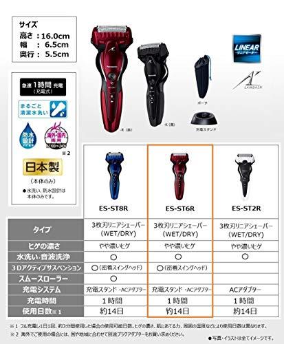 パナソニックラムダッシュメンズシェーバー3枚刃お風呂剃り可赤ES-ST6R-R