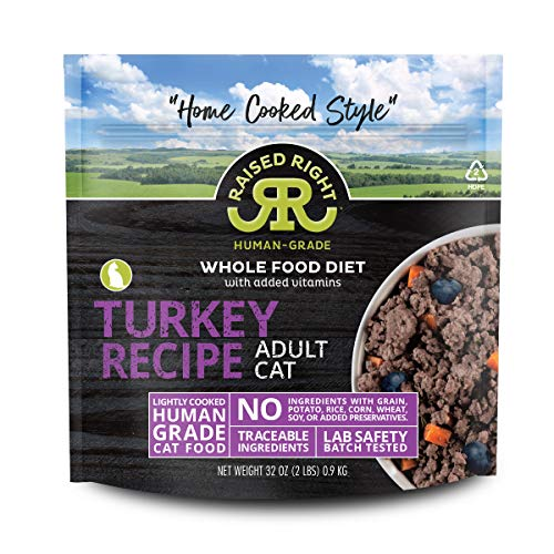 "Raised Right Turkey Human-Grade Frozen Cat Food, Low Carb ""Home Cooked Style"" Whole Food Diet - 2 lb. Bag, 8 Count"