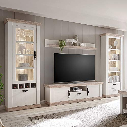 Lomadox Landhaus Wohnwand Pinie weiß mit Vitrine & Standregal, TV-Lowboard & Regal inkl. LED-Beleuchtung