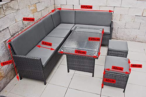 PolyRattan Hohe Dinning Ecklounge Gartenmöbel Essgruppe Tisch Polyrattan Auch Seitenverkehrt stellbar kaufen  Bild 1*