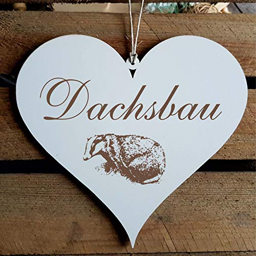 Schild Herz « DACHSBAU » ca. 13 x 12 cm - mit Motiv DACHS - Türschild Dekoschild Geschenk - Tiere Marder Natur Zuhause