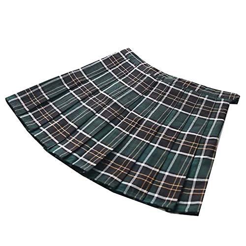 Feing Pleated Skirts Falda Plisada con Botones Laterales de Cintura Alta para Mujer, diseño de tartán, Color Verde - - X-Small