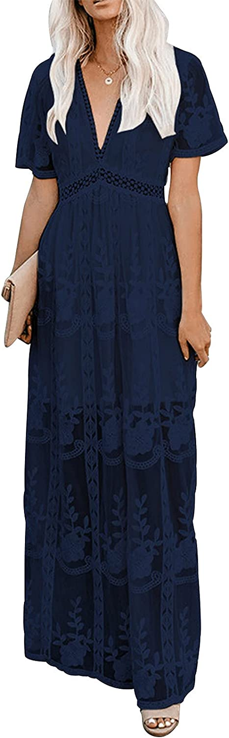 UOFOCO Wedding Guest Dresses for Women Maxi Dress V Neck Floral Lace Wedding Dress Short Sleeve Bridesmaid Evening Party