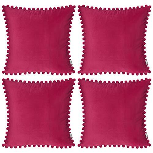 Funda de cojín de terciopelo suave, decorativa, cuadrada, con pompones para salón, sofá, dormitorio, con cremallera invisible, 45 x 45 cm, 4 piezas, color fucsia