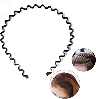 Unisex Black Spring Wavy Metal Hair Hoop Band Men Women Sports Headband Headwear Accessories