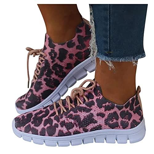 BIBOKAOKE Zapatillas deportivas para mujer, de lona, para el tiempo libre, con cordones, zapatillas deportivas, de piel de leopardo, antideslizantes, para interiores y exteriores, para caminar