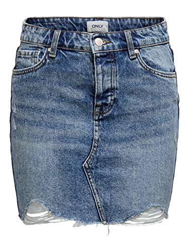 ONLY Damen Jeansrock Kurzer 34Light Blue Denim