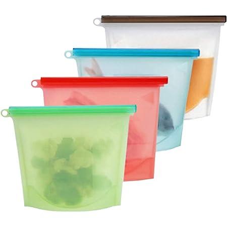 シリコン バック 食品 保存 容器 シリコン製 袋 調理バッグ レンジ 対応 パック 冷凍 可能 再利用 ストックバック 4個セット HIDERME (1000ml)