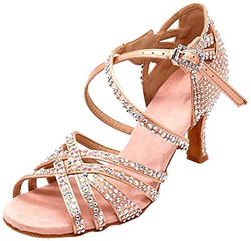 MGM-Joymod Damen Peep Toe Cross Strap Strass Social Tango Ballsaal Latin Modern Tanzschuhe Hochzeit Party Sandalen, Beige - Beige 7 cm Absatz - Größe: 37.5 EU