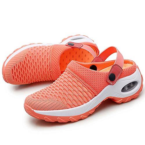 LKSDJ Zapatos de Deslizamiento con cojín de Aire Informales y Transpirables para Mujer, Sandalias ortopédicas para Caminar, Zapatos de jardín con cojín de Aire de Malla Orange 38