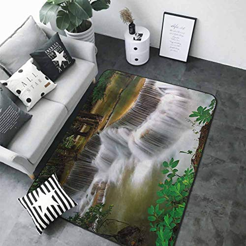 Anti-Slip Coffee Table Floor Mats Nature,Tropical Paradise Waterfall in Thailand Surreal Cascade Wonders of The World Scenery,Multicolor 80 x 58 in Bath Rugs